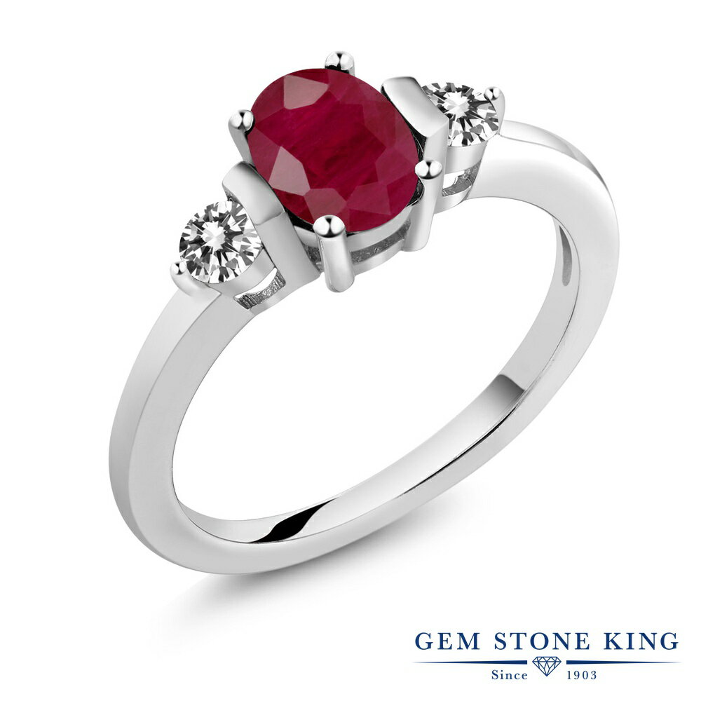 Gem Stone King 1.22カラット 天然ルビー シルバー925 天然ダイヤモンド 指輪 リング レディース 大粒 シンプル スリーストーン 天然石 誕生石 金属アレルギー対応 誕生日プレゼント