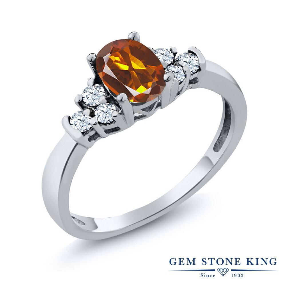 Gem Stone King 0.64カラット 天然マデイラシトリン(オレンジレッド) 天然トパーズ(無色透明) シルバー925 指輪 リング レディース 小粒 天然石 誕生日プレゼント