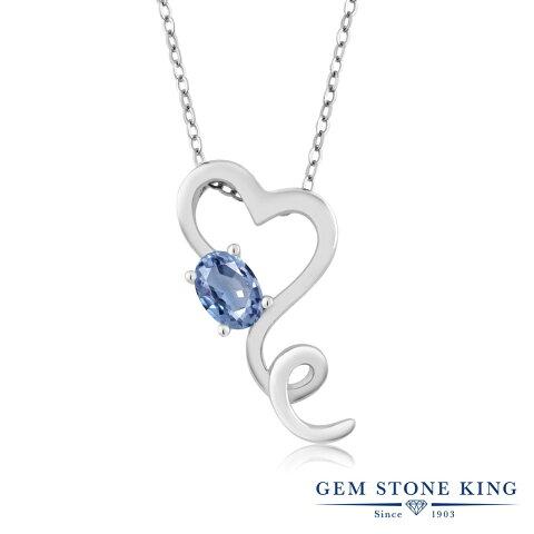 Gem Stone King 0.55カラット 天然サファイア シルバー925 ネックレス ペンダント レディース 一粒 シンプル 天然石 誕生石 誕生日プレゼント