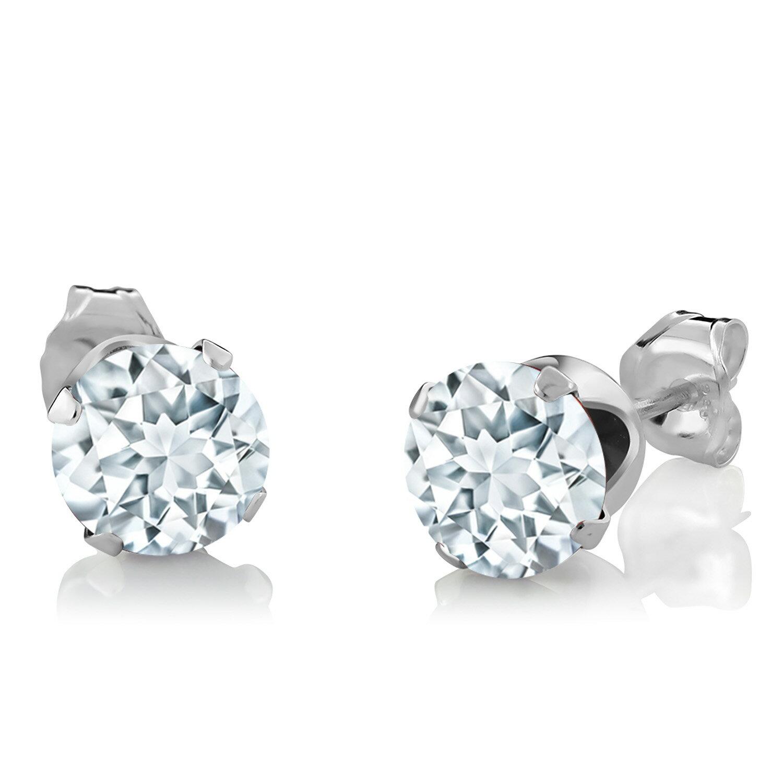 Gem Stone King 2.3カラット 天然 アクアマリン 天然 ダイヤモンド シルバー925 ペンダント&ピアスセット レディース 天然石 誕生石 金属アレルギー対応 誕生日プレゼント