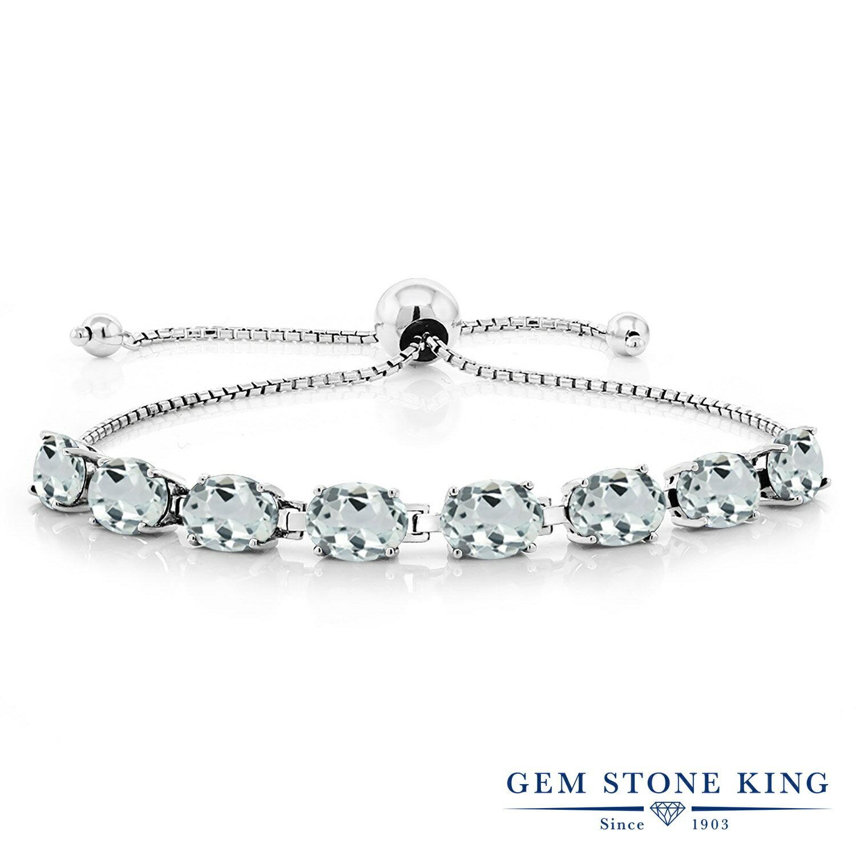 Gem Stone King 8.8カラット 天然 アクアマリン シルバー925 ブレスレット テニスブレスレット レディース 大粒 天然石 3月 誕生石 金属アレルギー対応 誕生日プレゼント