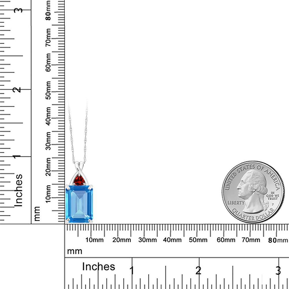Gem Stone King 7.34カラット 天然トパーズ(スイスブルー) 天然ガーネット 10金 ホワイトゴールド(K10) ネックレス ペンダント レディース 大粒 シンプル 天然石 誕生石 誕生日プレゼント
