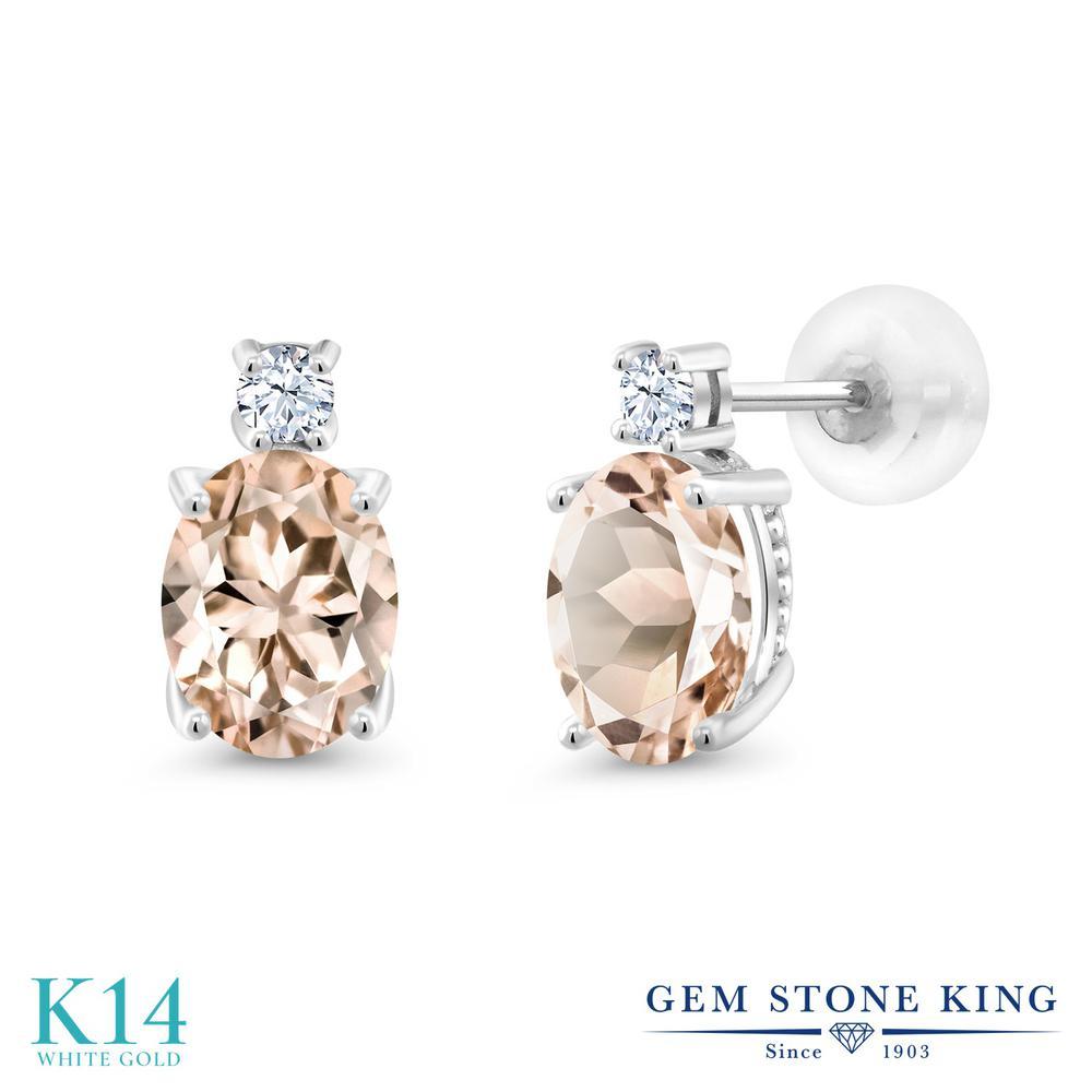 Gem Stone King 2.1カラット 天然モルガナイト(ピーチ) 14金 ホワイトゴールド(K14) ピアス レディース 大粒 スタッド 天然石 誕生石 金属アレルギー対応 誕生日プレゼント