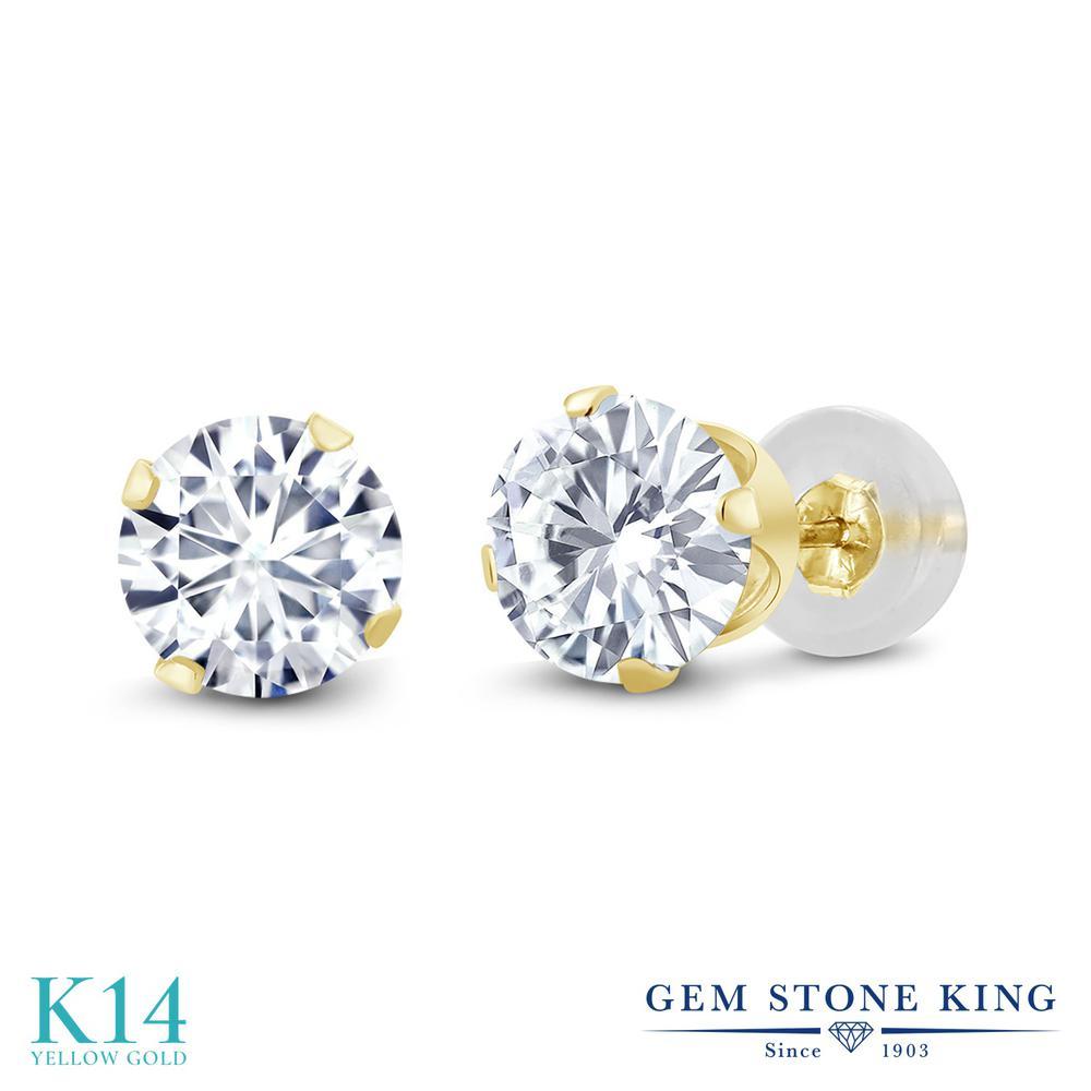 Gem Stone King 1.6カラット Forever One GHI モアッサナイト Charles & Colvard 14金 イエローゴールド(K14) ピアス レディース モアサナイト シンプル スタッド 金属アレルギー対応 誕生日プレゼント