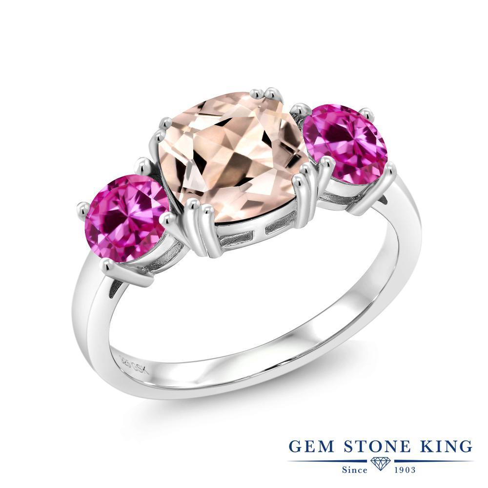 Gem Stone King 2.98カラット 天然モルガナイト(ピーチ) 合成ピンクサファイア シルバー925 指輪 リング レディース 大粒 シンプル スリーストーン 天然石 誕生石 金属アレルギー対応 誕生日プレゼント