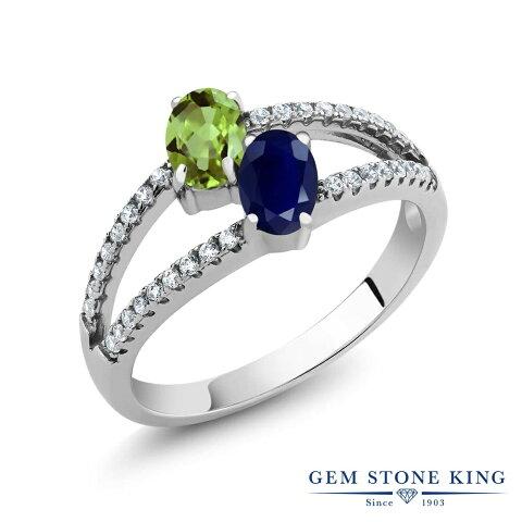 Gem Stone King 1.46カラット 天然石ペリドット 天然サファイア シルバー925 指輪 リング レディース 小粒 天然石 誕生石 誕生日プレゼント