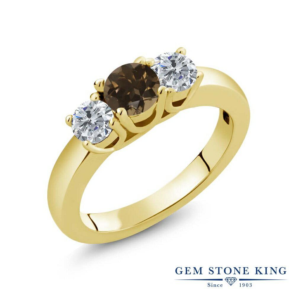 Gem Stone King 0.96カラット 天然スモーキークォーツ(ブラウン) シルバー 925 イエローゴールドコーティング 天然ダイヤモンド 指輪 リング レディース 小粒 シンプル スリーストーン 天然石 金属アレルギー対応 誕生日プレゼント