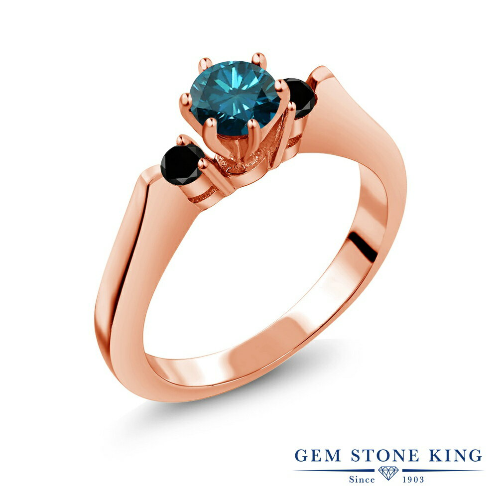 Gem Stone King 0.68カラット 天然ブルーダイヤモンド シルバー 925 ローズゴールドコーティング 指輪 リング レディース スリーストーン シンプル 天然石 誕生石 金属アレルギー対応 誕生日プレゼント