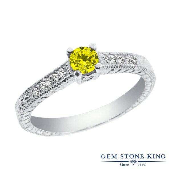 Gem Stone King 0.34カラット 天然イエローダイヤモンド シルバー925 指輪 リング レディース 小粒 マルチストーン 天然石 誕生石 金属アレルギー対応 婚約指輪 エンゲージリング