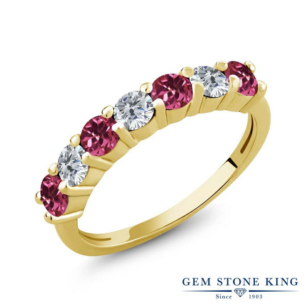 Gem Stone King 1.11カラット 天然トルマリン(ピンク) シルバー 925 イエローゴールドコーティング 天然ダイヤモンド 指輪 リング レディース 小粒 バンド 天然石 誕生石 金属アレルギー対応 誕生日プレゼント