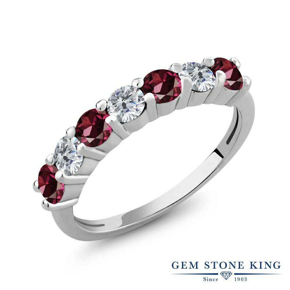 Gem Stone King 1.33カラット 天然ロードライトガーネット シルバー925 天然ダイヤモンド 指輪 リング レディース 小粒 バンド 天然石 金属アレルギー対応 誕生日プレゼント