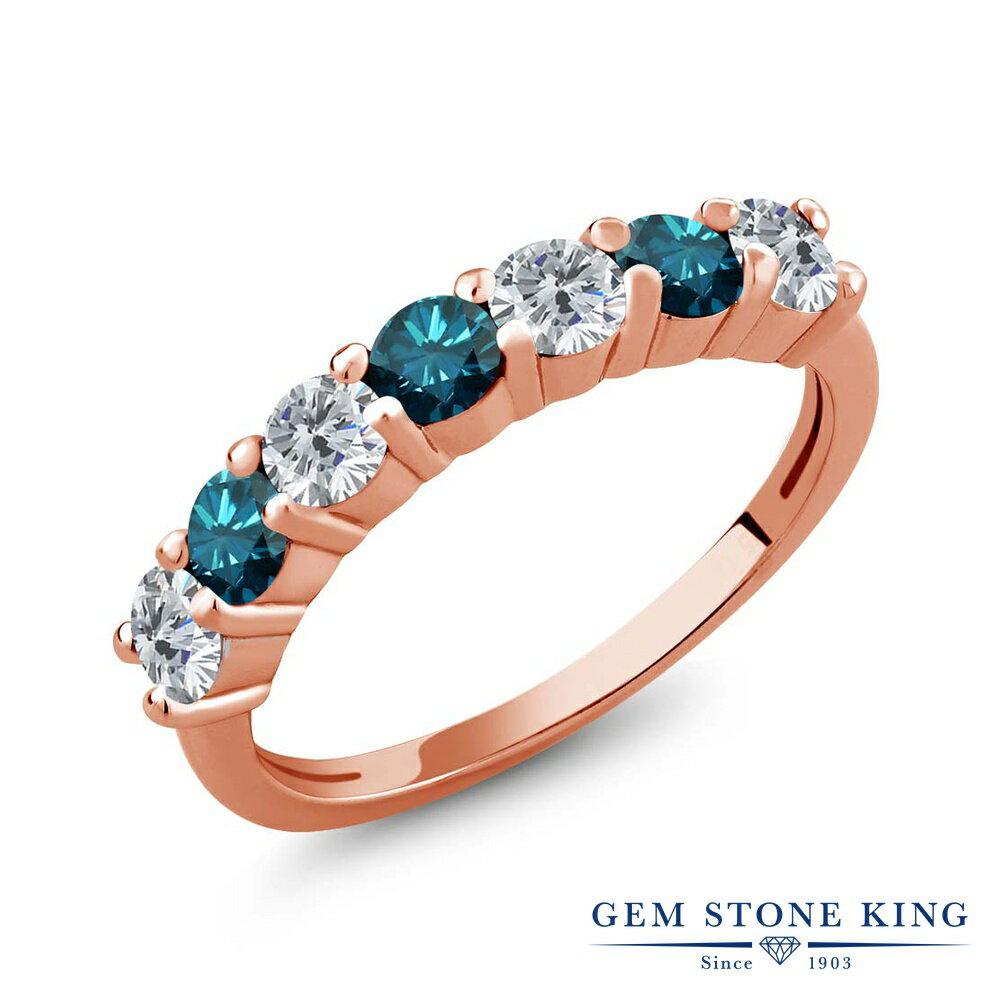 Gem Stone King 1.05カラット 天然ダイヤモンド シルバー 925 ローズゴールドコーティング 指輪 リング レディース 小粒 バンド 天然石 誕生石 金属アレルギー対応 誕生日プレゼント