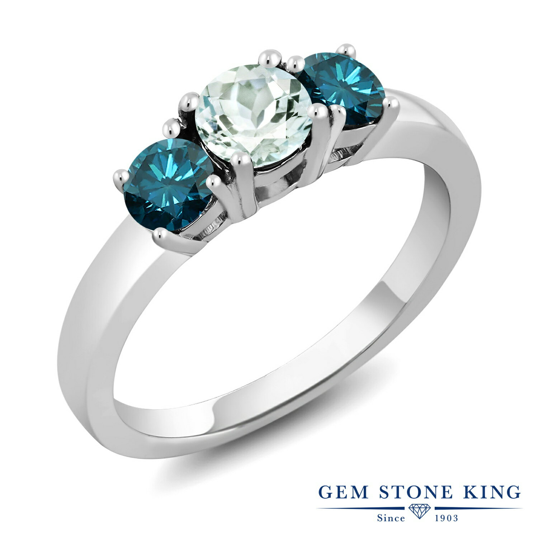 Gem Stone King 1.04カラット 天然 アクアマリン 天然 ブルーダイヤモンド シルバー925 指輪 リング レディース 小粒 シンプル スリーストーン 天然石 3月 誕生石 金属アレルギー対応 誕生日プレゼント