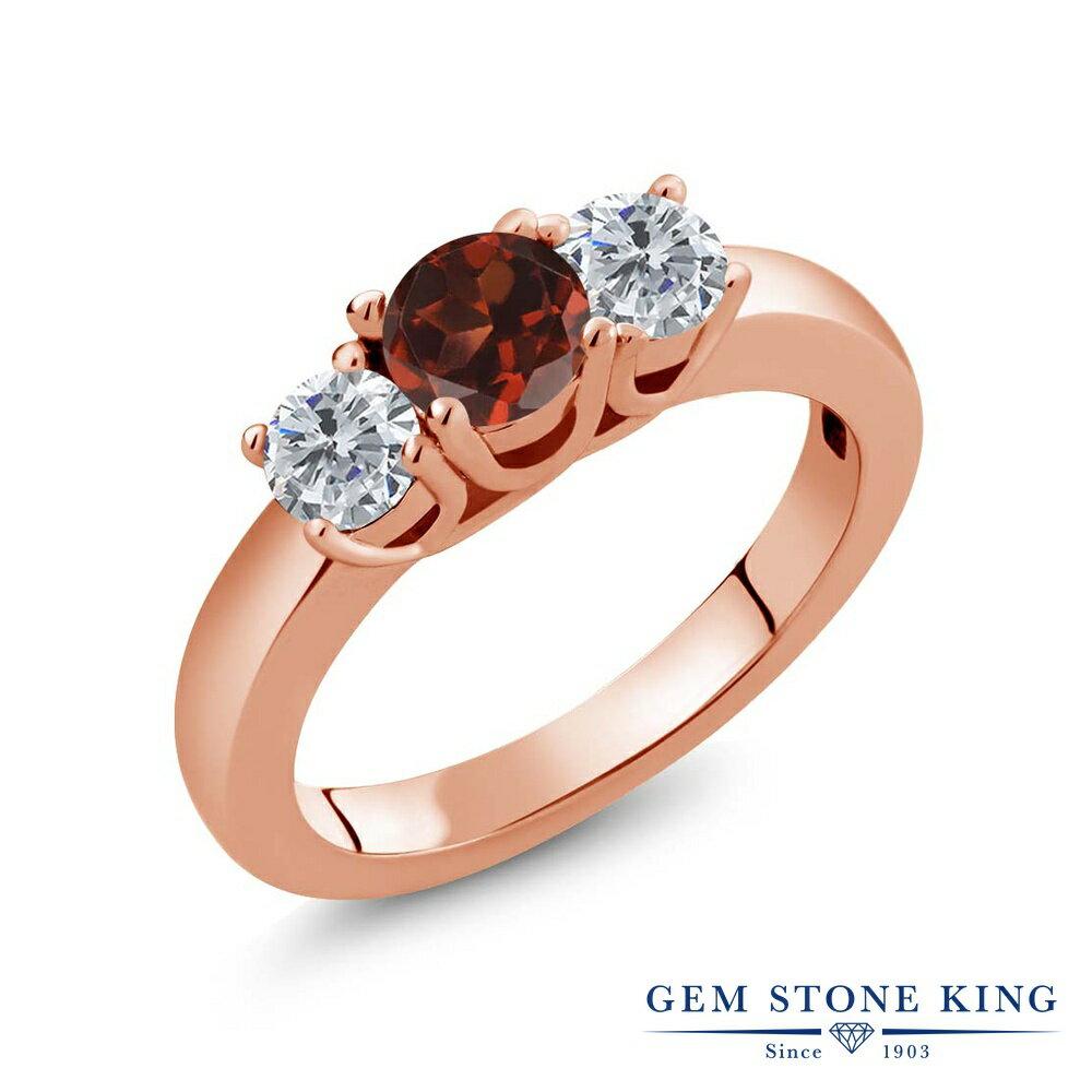 Gem Stone King 1.05カラット 天然ガーネット シルバー 925 ローズゴールドコーティング 天然ダイヤモンド 指輪 リング レディース シンプル スリーストーン 天然石 誕生石 金属アレルギー対応 誕生日プレゼント