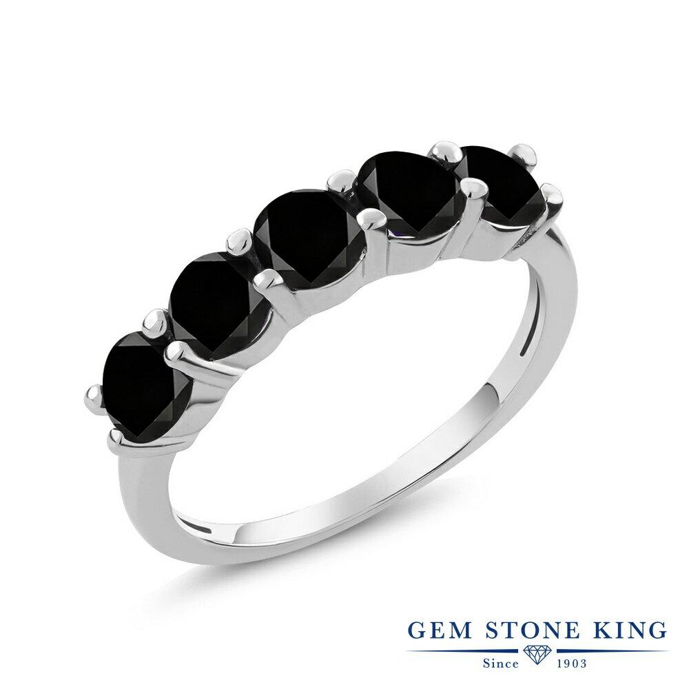 Gem Stone King 1.35カラット 天然ブラックダイヤモンド シルバー925 指輪 リング レディース 小粒 ファイブストーン 天然石 誕生石 金属アレルギー対応 誕生日プレゼント