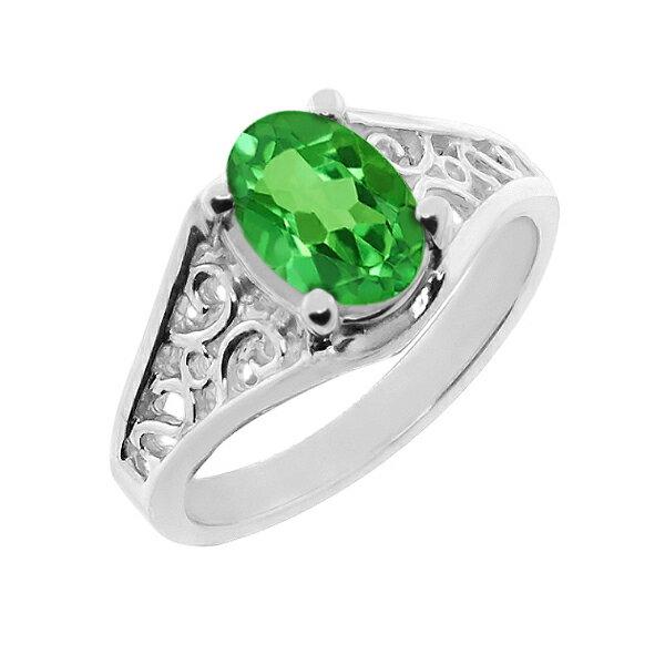 Gem Stone King 1.2カラット 14金 ホワイトゴールド(K14) 指輪 リング レディース 一粒 シンプル ソリティア 天然石 誕生石 金属アレルギー対応 誕生日プレゼント