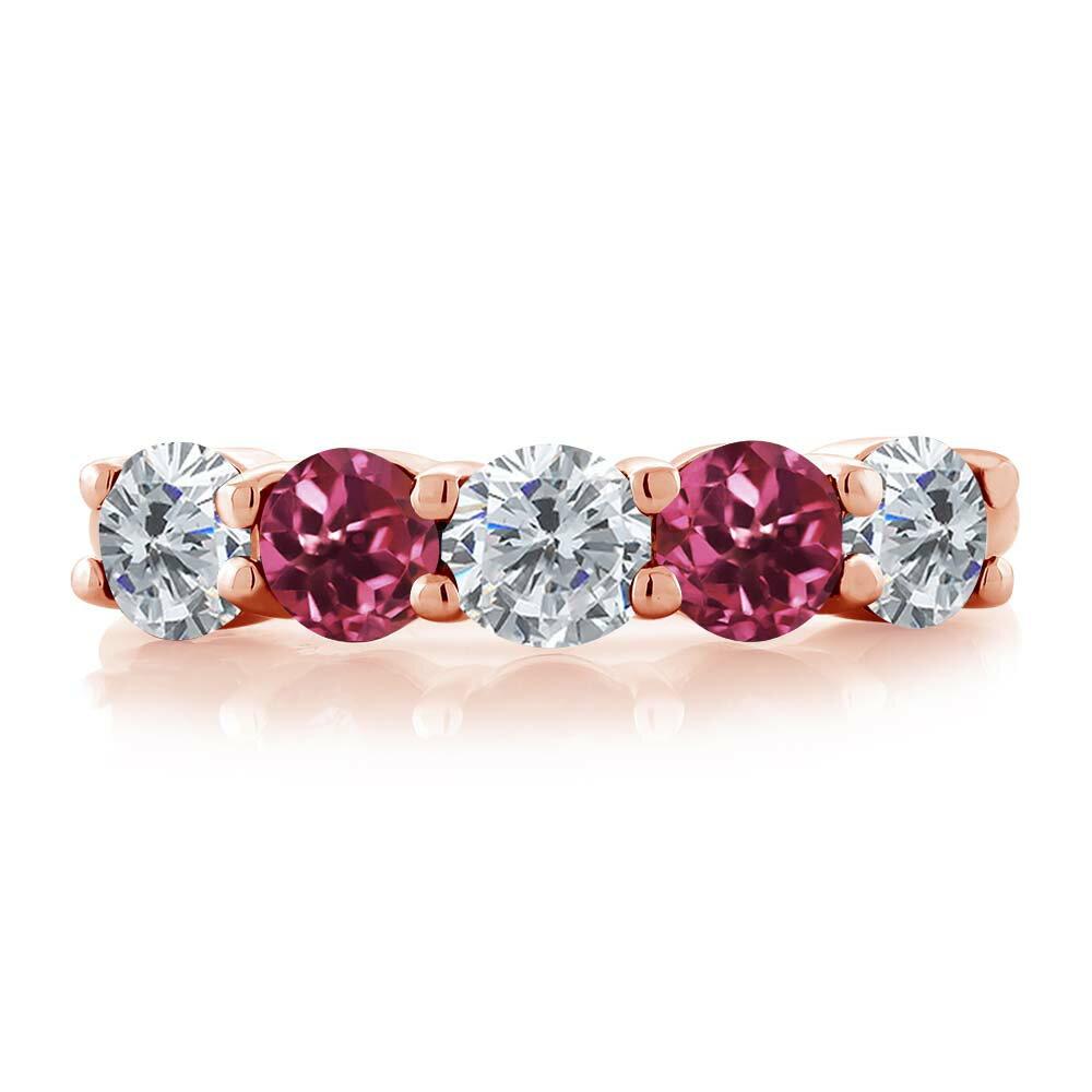 Gem Stone King 0.75カラット 天然ダイヤモンド 天然トルマリン(ピンク) シルバー 925 ローズゴールドコーティング 指輪 リング レディース 小粒 ファイブストーン 天然石 誕生石 金属アレルギー対応 結婚指輪 ウェディングバンド