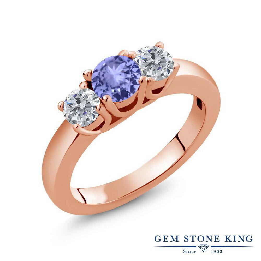 Gem Stone King 0.96カラット 天然石 タンザナイト シルバー 925 ローズゴールドコーティング 天然ダイヤモンド 指輪 リング レディース 小粒 シンプル スリーストーン 天然石 誕生石 金属アレルギー対応 誕生日プレゼント