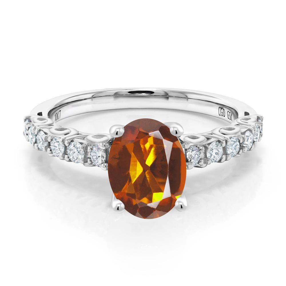 Gem Stone King 1.4カラット 天然マデイラシトリン(オレンジレッド) 10金 ホワイトゴールド(K10) 指輪 リング レディース 大粒 マルチストーン 天然石 金属アレルギー対応 誕生日プレゼント