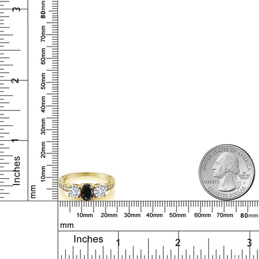 Gem Stone King 2.19カラット 天然サファイア(ブラック) モアッサナイト Charles & Colvard シルバー 925 イエローゴールドコーティング 指輪 リング レディース 大粒 スリーストーン 天然石 誕生石 金属アレルギー対応 誕生日プレゼント