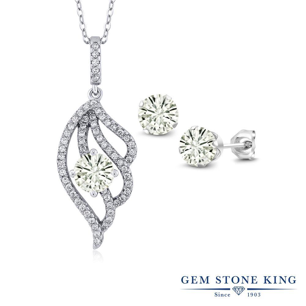 Gem Stone King 3.12カラット Forever Classic モアッサナイト Charles & Colvard シルバー925 ペンダント&ピアスセット レディース モアサナイト 大ぶり 金属アレルギー対応 誕生日プレゼント