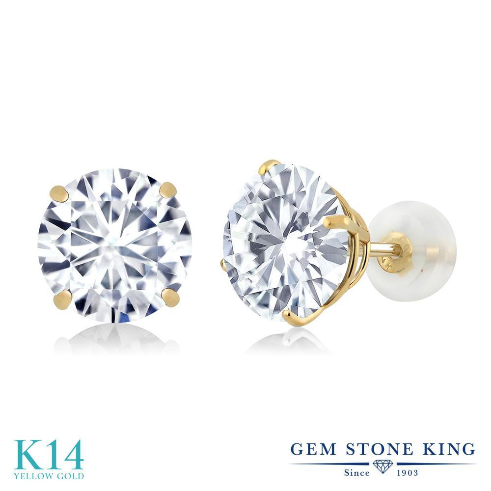 Gem Stone King 3.8カラット Forever Brilliant モアッサナイト Charles & Colvard 14金 イエローゴールド(K14) ピアス レディース モアサナイト 大粒 シンプル スタッド 金属アレルギー対応 誕生日プレゼント