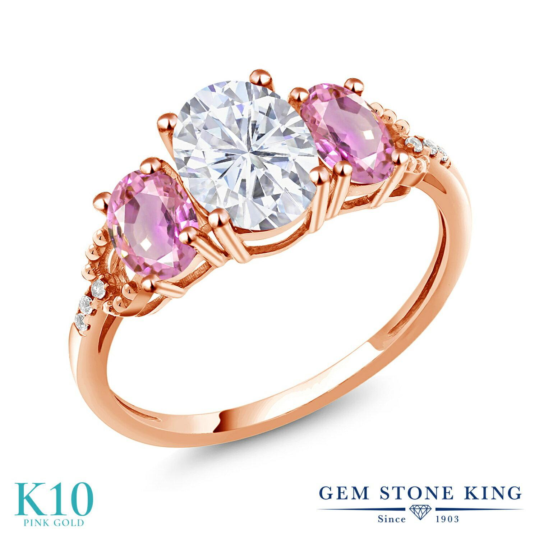 Gem Stone King 2.74カラット Forever Brilliant モアッサナイト Charles & Colvard 天然サファイア(ピンク) 天然ダイヤモンド 10金 ローズゴールド(K10) 天然ダイヤモンド 指輪 リング レディース モアサナイト 大粒 スリーストーン 金属アレルギー対応 誕生日プレゼント