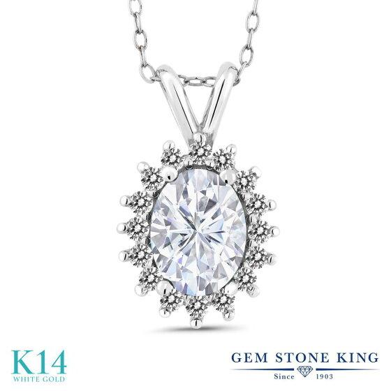GemStoneKing1.77カラットForeverOneGHIモアッサナイトCharles&Colvard14金ホワイトゴールド(K14)天然ダイヤモンドネックレスペンダントレディース大粒誕生日プレゼント