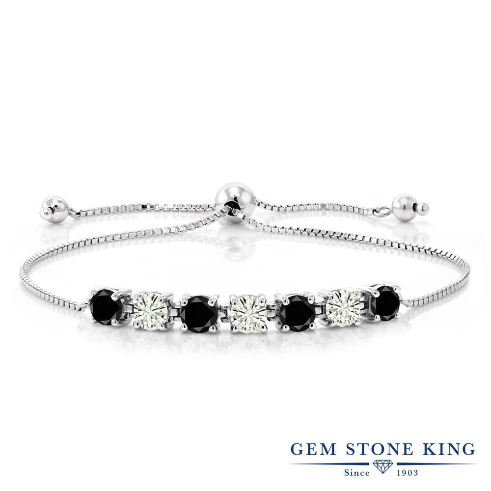 Gem Stone King 2.47カラット 天然ブラックダイヤモンド モアッサナイト Charles & Colvard シルバー925 ブレスレット テニスブレスレット レディース 小粒 天然石 誕生石 金属アレルギー対応 誕生日プレゼント