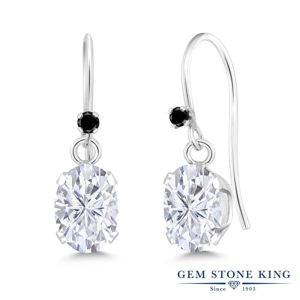 Gem Stone King 1.82カラット Forever Brilliant モアッサナイト Charles & Colvard シルバー925 天然ブラックダイヤモンド ピアス レディース モアサナイト フレンチワイヤー 金属アレルギー対応 誕生日プレゼント