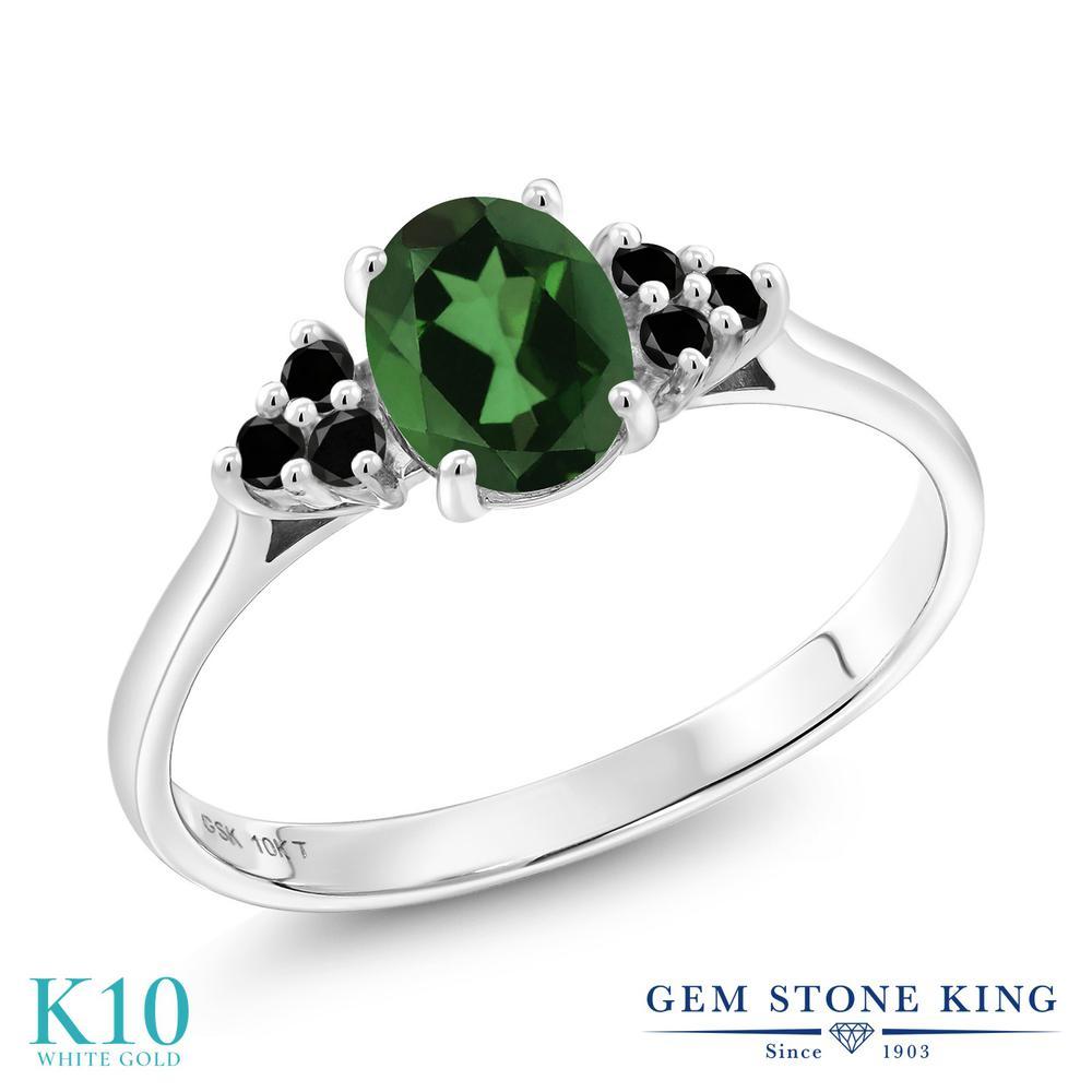 Gem Stone King 0.95カラット 天然石 ミスティックトパーズ(エメラルドグリーン) 10金 ホワイトゴールド(K10) 天然ブラックダイヤモンド 指輪 リング レディース マルチストーン 天然石 金属アレルギー対応 誕生日プレゼント