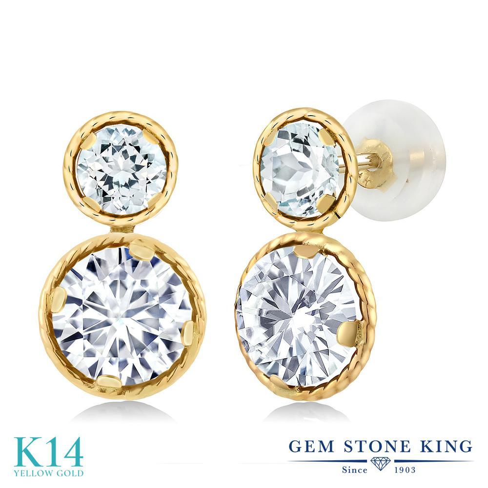 Gem Stone King 2.1カラット Forever One GHI モアッサナイト Charles & Colvard 天然 アクアマリン 14金 イエローゴールド(K14) ピアス レディース モアサナイト スタッド 金属アレルギー対応 誕生日プレゼント