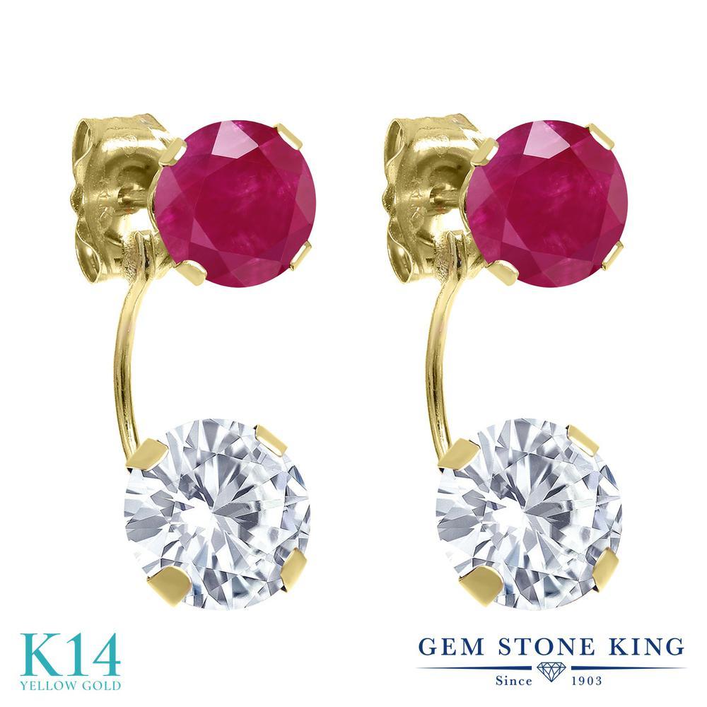 【10%OFF】 Gem Stone King 2.70カラット Forever One GHI モアッサナイト Charles & Colvard 天然ルビー 14金 イエローゴールド(K14) ピアス レディース モアサナイト 金属アレルギー対応 誕生日プレゼント