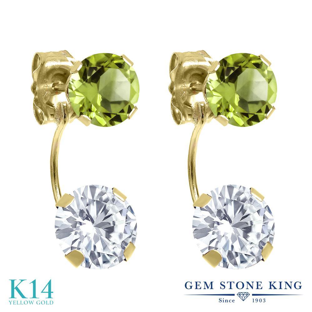 Gem Stone King 2.7カラット Forever One GHI モアッサナイト Charles & Colvard 天然石 ペリドット 14金 イエローゴールド(K14) ピアス レディース モアサナイト スタッド 金属アレルギー対応 誕生日プレゼント