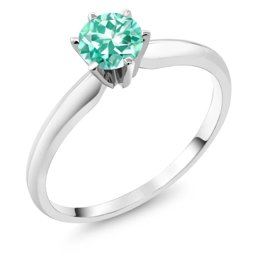 Gem Stone King 0.5カラット 天然アパタイト 14金 ホワイトゴールド(K14) 指輪 リング レディース 小粒 一粒 シンプル ソリティア 天然石 金属アレルギー対応 婚約指輪 エンゲージリング