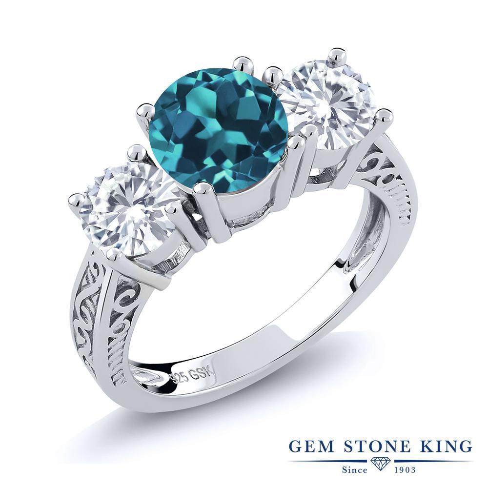 Gem Stone King 2.7カラット 天然トパーズ(ロンドンブルー) モアッサナイト Charles & Colvard シルバー925 指輪 リング レディース 大粒 シンプル スリーストーン 天然石 誕生石 金属アレルギー対応 誕生日プレゼント