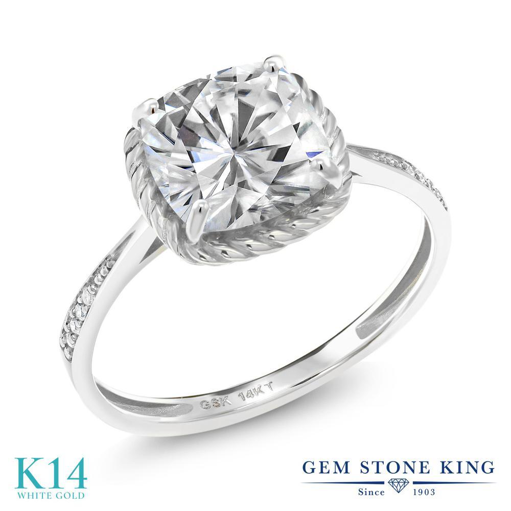 Gem Stone King 2.46カラット Forever One GHI モアッサナイト Charles & Colvard 天然 ダイヤモンド 14金 ホワイトゴールド(K14) 指輪 リング レディース モアサナイト 大粒 カクテル 金属アレルギー対応 誕生日プレゼント