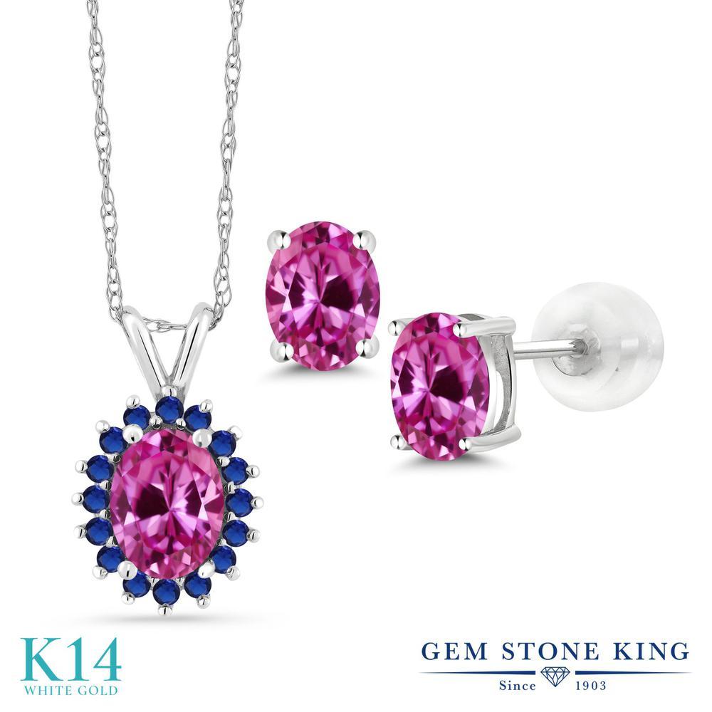 Gem Stone King 2.97カラット 合成ピンクサファイア 14金 ホワイトゴールド(K14) ペンダント&ピアスセット レディース 大粒 金属アレルギー対応 誕生日プレゼント