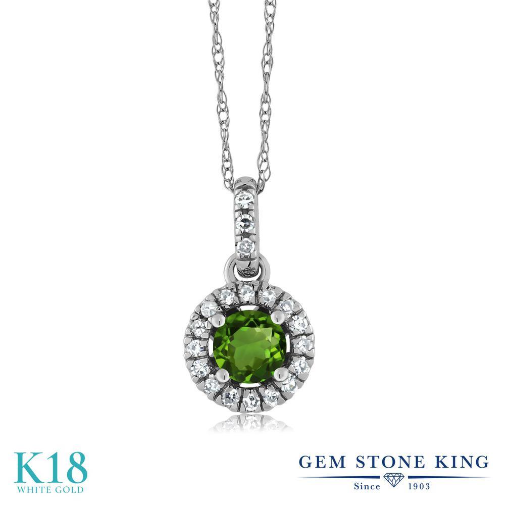 Gem Stone King 0.38カラット 天然トルマリン(グリーン) 18金 ホワイトゴールド(K18) 天然ダイヤモンド ネックレス ペンダント レディース 小粒 天然石 誕生石 金属アレルギー対応 誕生日プレゼント