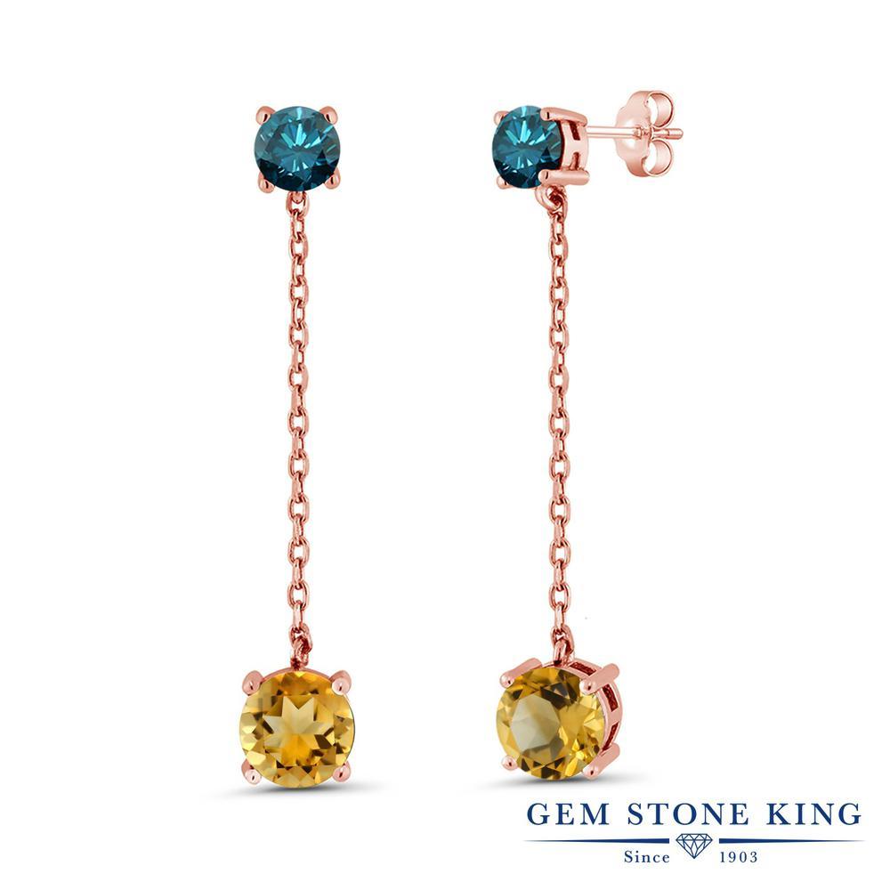 Gem Stone King 3.7カラット 天然シトリン 天然ブルーダイヤモンド シルバー 925 ローズゴールドコーティング ピアス レディース 大粒 ぶら下がり 天然石 誕生石 金属アレルギー対応 誕生日プレゼント