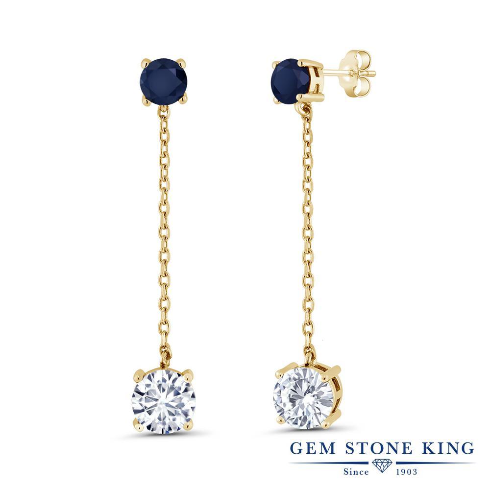 Gem Stone King 3.6カラット Forever Brilliant モアッサナイト Charles & Colvard 天然 サファイア シルバー925 イエローゴールドコーティング ピアス レディース モアサナイト 大粒 ぶら下がり 金属アレルギー対応 誕生日プレゼント