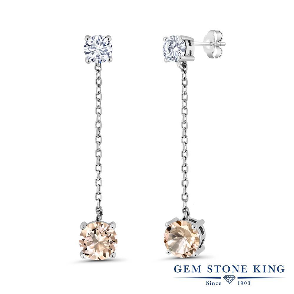 Gem Stone King 3.3カラット 天然 モルガナイト (ピーチ) モアッサナイト Charles & Colvard シルバー925 ピアス レディース 大粒 ぶら下がり 天然石 誕生石 金属アレルギー対応 誕生日プレゼント