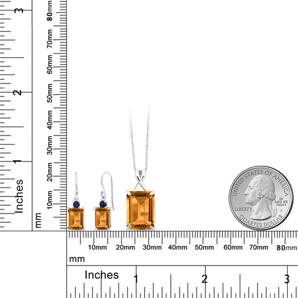 Gem Stone King 11.6カラット 天然 シトリン 10金 ホワイトゴールド(K10) ペンダント&ピアスセット レディース 大粒 フレンチワイヤー 天然石 11月 誕生石 金属アレルギー対応 誕生日プレゼント