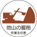 ヘルメット用ステッカー 370-21地山の掘削作業主任者 2枚組 【標識・表示・シール・テープ・サイン・マーク】