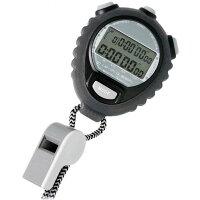山佐時計計器ストップウォッチTEV-4026Yブラック(BK)ホイッスル付き[1/100秒計測60ラップメモリースプリットタイム計測日付時計アラーム]