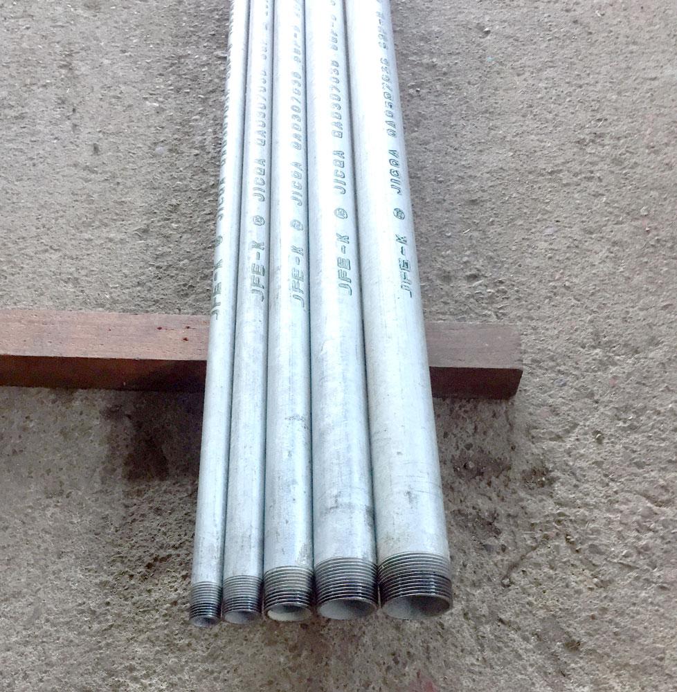 白ガス管 JFE-SGP オーダーサイズ(お好きな長さで加工します。)両ネジ加工 15A(1/2B) 0.6m(600mm)以下 (鉄管、配管パイプ、亜鉛メッキ鋼管、白管、水(上水道用を除く)・空気・蒸気・油・ガス等の流体の輸送用)