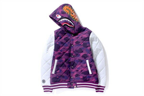 メンズファッション, コート・ジャケット Bape(R) A BATHING APE( )COLOR CAMO QUILTING SHARK HOODIE JKTPURPLE15aw 2015 1b80-141-008