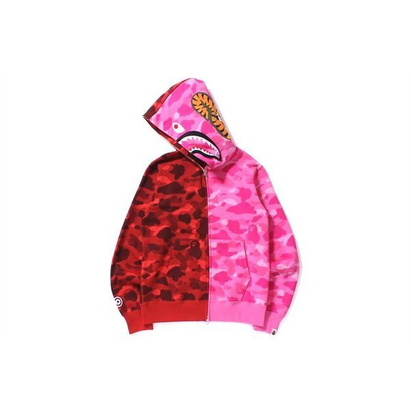 トップス, パーカー A BATHING APE( )COLOR CAMO HALFHALF SHARK FULL ZIP HOODIEREDPINK1B70-115-024 2015