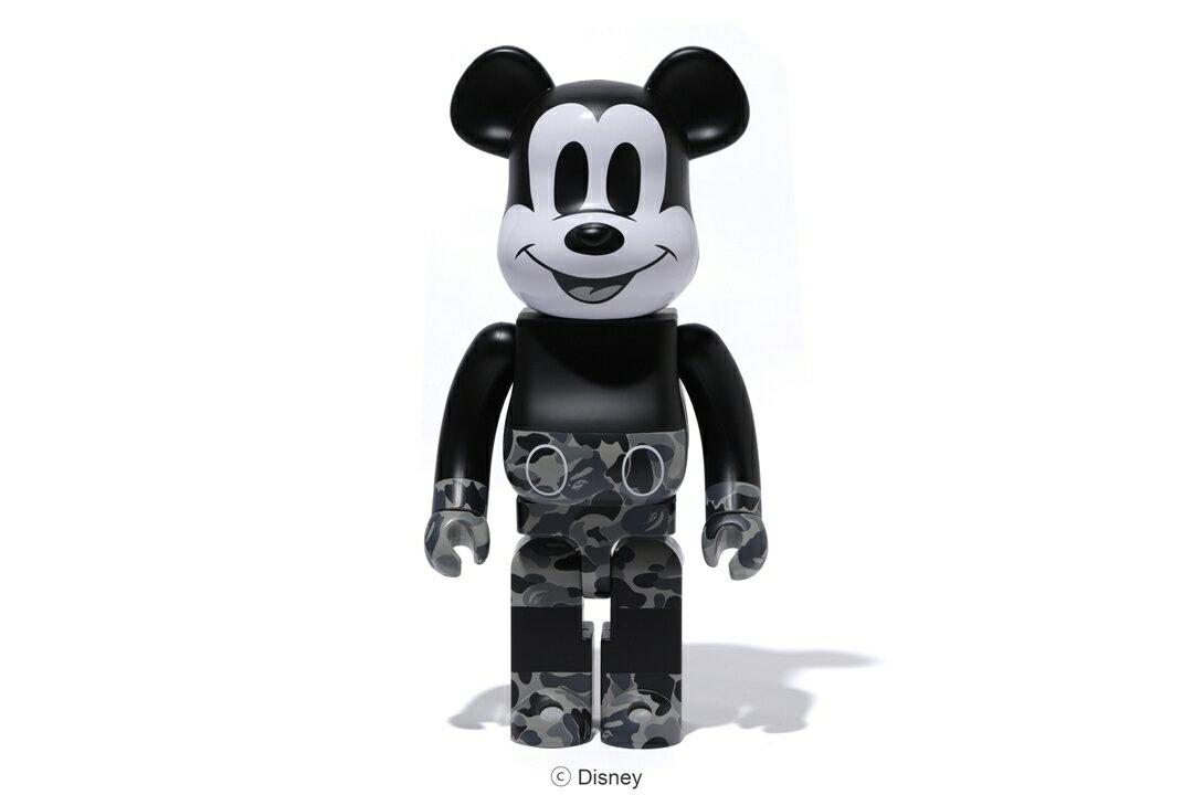 コレクション, フィギュア BERBRICK BAPE MICKEY MOUSE 1000 BLACKWHITEA BATHING APE medicom toy