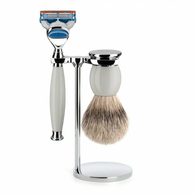 ミューレ SOPHIST シェービングセット/ホワイトポセラン 替刃:Fusion (S93P84F)【髭剃り ひげ剃り カミソリ かみそり シェービング 剃刀 ジレット フュージョン シェービングブラシ シェービングセット 高級】:Gents club